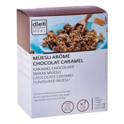 Müesli chocolat-caramel riche en protéines